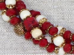 Бусы из белого и красного коралла от Nur