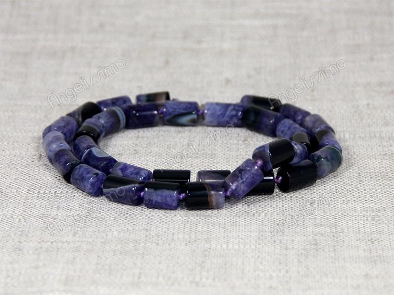 Бусы из фиолетового и черного агата