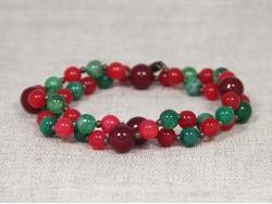 Бусы из красного и зеленого агата от Nur