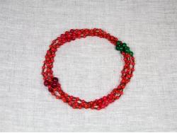 Бусы из красного и зеленого агата с небольшими медными бусинами от Nur